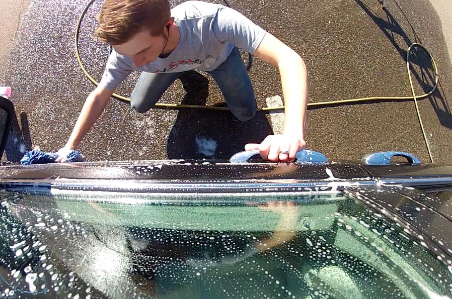 Nick detailing car